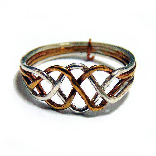 Кольцо-головоломка женское из 4 деталей (биметалл)