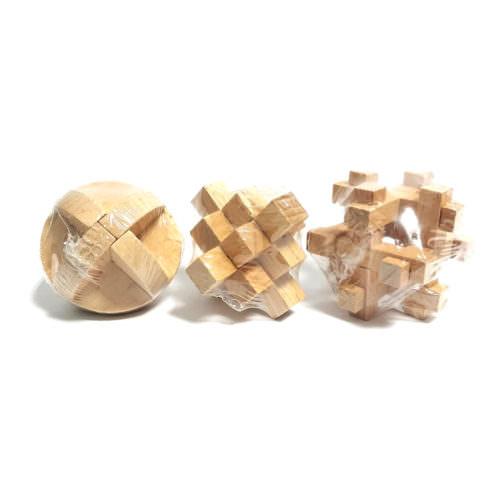 Деревянная мини 3D-головоломка Burr Puzzle (в ассортименте)
